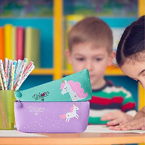 Unicorno Penne,SmileStar 10pcs Unicorno Penne di Colori e Astuccio e Unicorno Taccuino per Matita Unicorno per Amanti dei Fenicotteri e Degli Unicorno, un Ottimo Regalo x una Bambina (porpora)