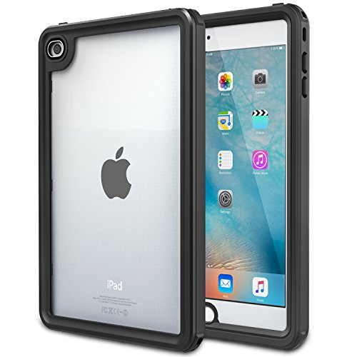 "MoKo Case for iPad Mini 4, Waterproof Case with Built-in Screen Protector Ultra Protective Shock-absorbing Bumper Dustproof Submersible Full-body Case for iPad Mini 4 7.9"" 2015 Release Tablet, Black"