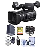 Sony HXR-NX100 Professional Compact Camcorder - Bundle With 32GB U3 SDHC Card, Spare Battery, 62mm Filter Kit, Cleaning Kit, Card Reader, Memory Wallet