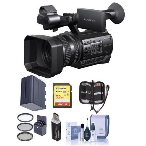 (Sony HXR-NX100 Professional Compact Camcorder - Bundle With 32GB U3 SDHC Card, Spare Battery, 62mm Filter Kit, Cleaning Kit, Card Reader, Memory Wallet)