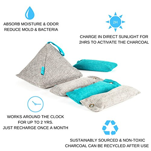 Charcoal Odor Absorber and Moisture Eliminator. Use as Shoe Deodorizer, in Car, Room or Closet. Natural Air Purifiers and Freshener, Non-toxic, Safe & Eco Friendly. Best Value 5 Pack