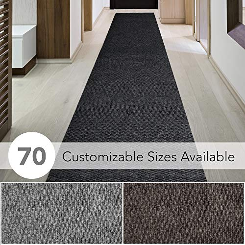 iCustomRug Spartan Weather Warrior Duty Indoor/Outdoor Utility Berber Loop Carpet Runner, Area Rugs, 3ft,4ft,6ft Widths 70 Custom Sizes with Natural Non-Slip Rubber Backing 3' X 8' in Dark Charcoal (Canada Rugs Floor)