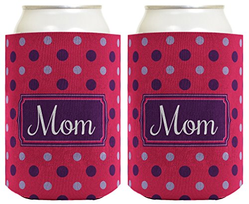 Mother's Day Gift for Mom or Grandma Cute Polka Dot 2 Pack Can Coolie Drink Coolers Coolies Polka Dot