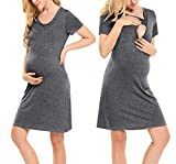 Hotouch Womens Delivery/Labor/Maternity/Nursing Nightgown Pregnancy Gown for Hospital Breastfeeding Dress Dark Gray L