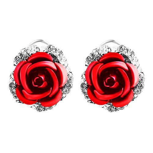 (Ownsig Womens Delicate Rose Flower Rhinestone Ear Stud Earrings Red)