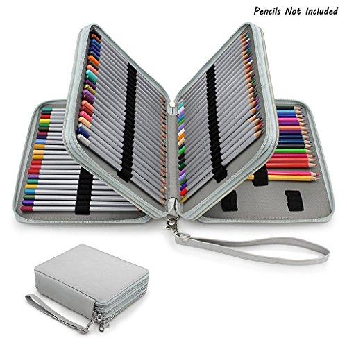 Myoffice PUレザー色鉛筆ホルダー 120本入れ ペンシルホルダー 色鉛筆 収納ケース筆箱 シンプル 大容量 ペンケース 人気 色鉛筆なし グレーの商品画像
