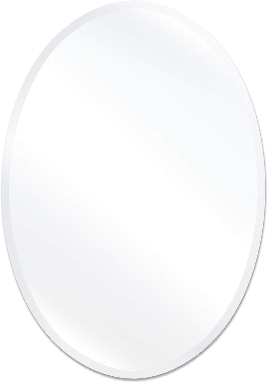 "USHOWER 20 x 28 Inch Frameless Oval Wall Mirror, Large Decor Mirror for Bathroom, Vanity, Bedroom, 1"" Beveled Edge, Modern Style"