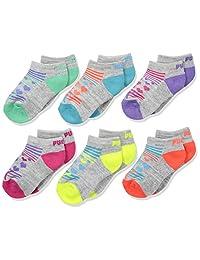 PUMA girls Puma Girls' 6 Pack Low Cut Socks