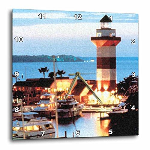 3dRose DPP_61725_3 Harbor Town Lighthouse at Hilton Head Island at Dusk Wall Clock, 15 by 15-Inch