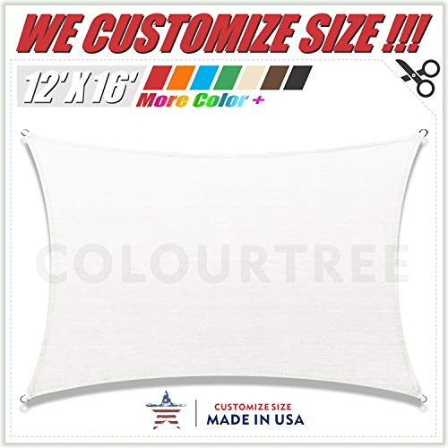ColourTree 12' x 16' White Rectangle Sun Shade Sail Canopy - UV Resistant Heavy Duty Commercial Grade -We Make Custom Size