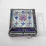 Jewel Encrusted 5X5 SILVER Glass Treasure Jewelry Box Swarovski Crystals USA made
