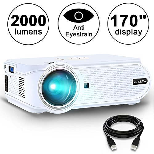 Movie Projector ARTSEA 1600 Luminous Efficiency Home Theater LED Video Projector Support 1080P Full HD, HDMI, VGA, USB, AV and Headphone Interface for Multimedia Home Theater Entertainment