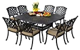 Darlee 201630-9PC-30W Ocean View Cast Aluminum 9 Piece Square Dining Set and Seat Cushions, 64', Antique Bronze