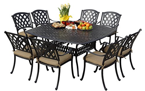 Darlee 201630-9PC-30W Ocean View Cast Aluminum 9 Piece Square Dining Set and Seat Cushions, 64