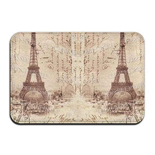 AUUOCC Doormat, Kitchen Bathroom Floor Carpet Mat, French Script Eiffel Tower Door Mats Mats Kitchen Entryway Floor Home Carpets Memory Foam 15.7