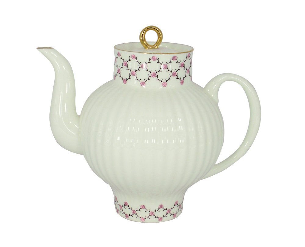 Lomonosov磁器Bone China Tea Pot WaveピンクNet 27 fl.oz/800 ML B01EV17R4K