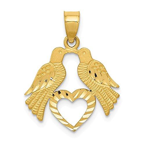 Jewel Tie 14k Yellow Gold Polished Diamond-Cut Love Birds with Heart Pendant (17mm x 22mm)