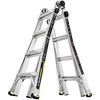 Gorilla Ladders 17 ft. MPX Aluminum Telescoping Multi-Position Ladder with 375 lb. Load Capacity Type IAA Duty Rating