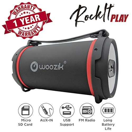Woozik Rockit Play Bluetooth Speaker, Wireless Loud Boombox Indoor Outdoor with FM Radio, USB, AUX, and Micro SD Card Support and Carrying Strap (Black)