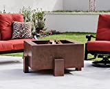 38 Inch Square Cor-ten Steel Fire Pit - Wood Burning -Remote Propane Gas Source