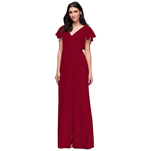Davids Bridal Flutter Sleeve Crinkle Chiffon Bridesmaid Dress Style
