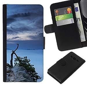 LECELL--Cuero de la tarjeta la carpeta del tirón Smartphone Slots Protección Holder For Samsung Galaxy A3 -- Lago Árbol --