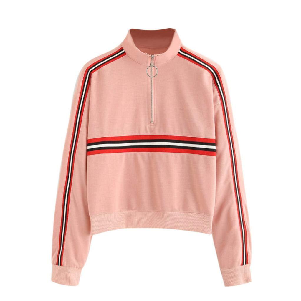 Amazon.com: Women Long Sleeve Striped Hoodies Sweatshirt Turtleneck Zipper Autumn Winter Jumper Pullover Tops Blouse: Clothing
