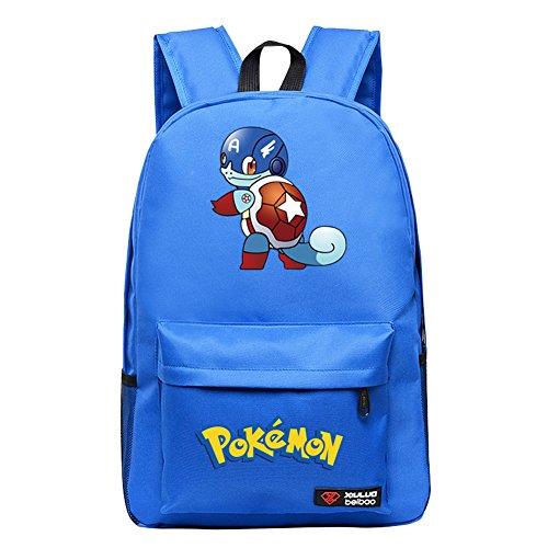 YOURNELO Cartoon Pokemon Rucksack School Backpack Bookbag for Boys Girls (Squirtle (Girl Squirtle)