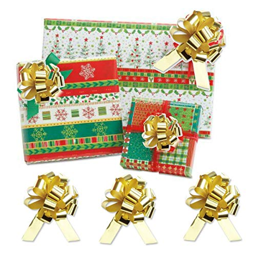 Christmas Wrapping Paper Gift Bundle - Flat Wrapping Sheets (6) 2 of Each Print 6 Metallic Pull Bows (Happy Holly) (Holly Decor Wrap Holiday)