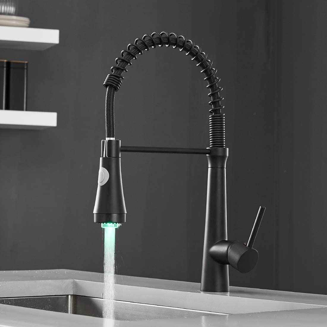 WANMAI Matte Black Kitchen Faucet, Contemporary Black Pull Down Sink Faucet with Sprayer, Commercial Single Handle High Arc Sink Faucets with LED Light