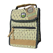 Onyx and Green 7500 BN Insulated Fold Up Lunch Bag, Made from Ramie Leaf and Jute Plant Blend, Beige