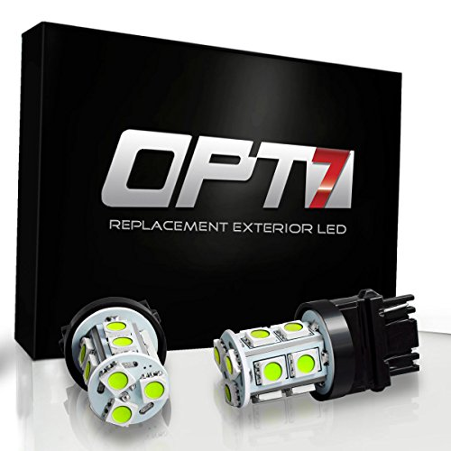OPT7 7443 T20 Advanced Bright 13-SMD LED Bulb - Brake Tail Light Reverse Signal Backup Bulbs w/Load Resistors - Amber