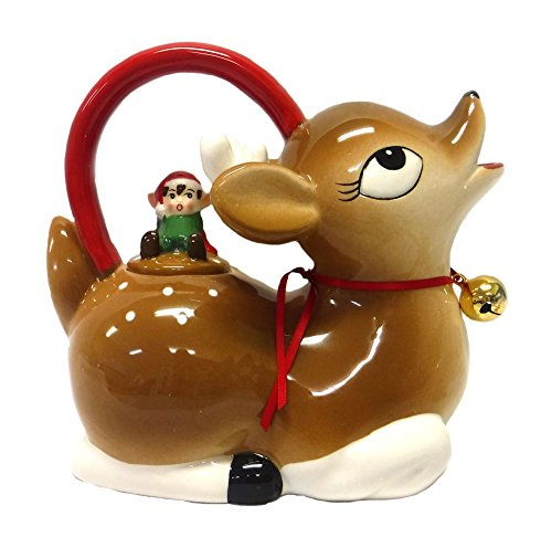 Tinsel Town Retro Reindeer and Elf Christmas Teapot -