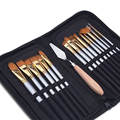 Paint Brushes Set, LEOKOR 15 Pcs/Set Acrylic Art Supplies Watercolor Oil Paint Brush with Painting Knife and Sponge for Kids & Adults