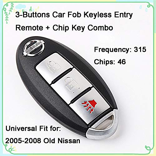 - 1 Set 3-Buttons 315Hz Car Key Fob Keyless Entry Intelligent Smart Card Alarm Key Transmitter Programmer Remote Control & Uncut 46 Chips Key Replacement for 2005-2008 Nissan Tiida Bluebird Sylphy 10309