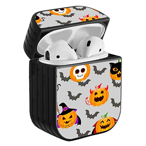 Compatible with Airpods 2 & 1, Shockproof Portable Protective Hard Cover Case with Neck Lanyard Strap - Halloween Evil pumking Wearing Witch hat and Flying bat]()