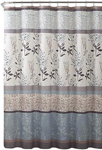 Amazon Com Serafina Home Light Blue Beige Grey Fabric Shower