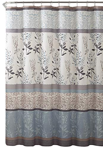 Serafina Home Light Blue Beige Grey Fabric Shower Curtain for Bathroom: Contemporary Floral Bordered Damask Design - Elegant floral and stripe motif, this Ashly shower curtain provides a stylish addition to your bathroom. The botanical pattern with flowers, leaves and branches creates a light and refreshing welcome to any space. Easy hanging with 12 stitched buttonhole openings Material: 100% Polyester cloth; Canvas textured style fabric with a soft textured feeling creates a light and airy feeling. - shower-curtains, bathroom-linens, bathroom - 51Gr3NVuQUL -
