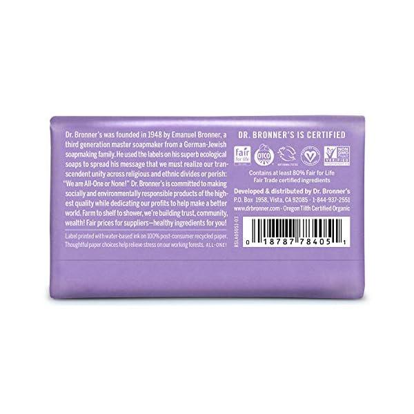 Dr Bronner's Organic Lavender Pure Castile Bar Soap, 2 Pack (2 x 140 g)