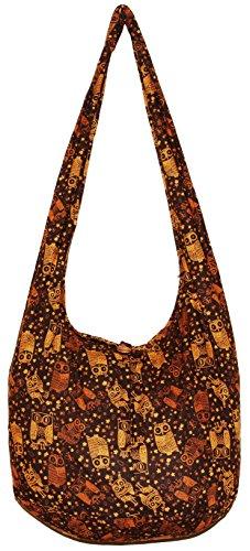 Owl Cute Bohemian Hippie Hobo Boho Crossbody Shoulder Bag Purse (Brown)