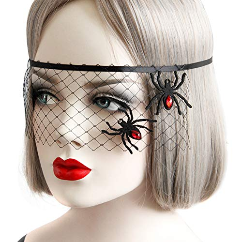 Echeer Halloween Masquerade Spider Princess Half Face Mesh Mask, Halloween Party Costume Headband -