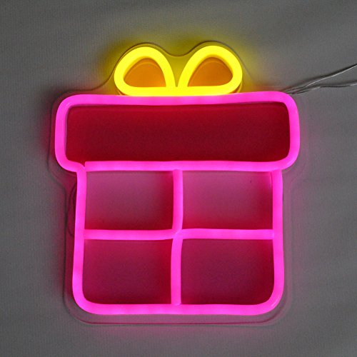 TOPATOM LED Neon Signs Gift Box Neon Sign for Girl Home Girls Bedroom Decoration