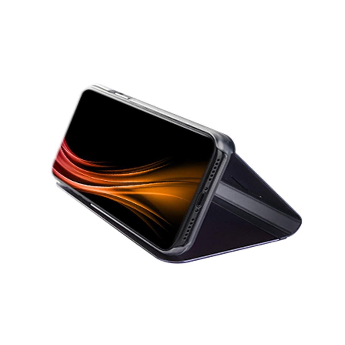 PC Mati/ère Backcover Transparent Clear View Design Fonction Stand Protector pour Huawei Mate 20 Luxe Placage Effet /Étui /à Rabat en PU Cuir Misstars Coque pour Huawei Mate 20 Miroir Noir