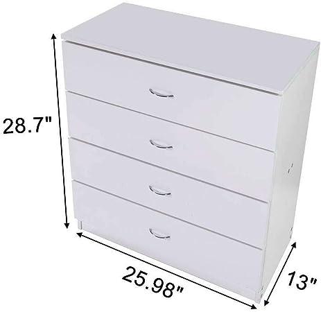 ARB MARKET Cómoda de 4 cajones, color blanco, moderna, cómoda con cajones, mueble contemporáneo de almacenamiento de madera, organizador para guardar ropa, accesorios, sala de estar, oficina en casa, habitación familiar, dormitorio: