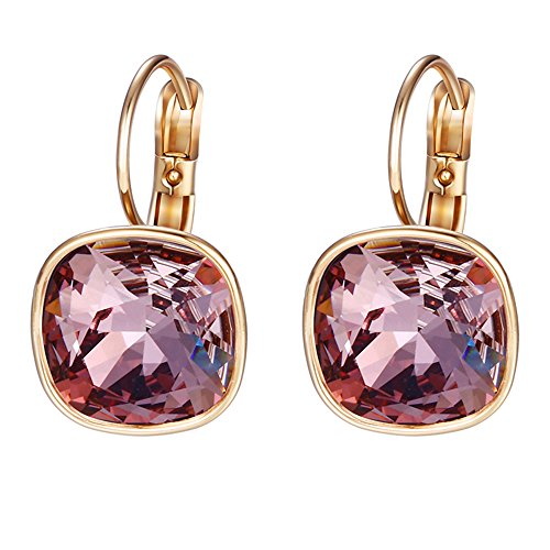Xuping Boxing Day Luxury Hoop Crystals from Swarovski Fashion Earrings Jewelry Gifts (Crystal Antique Pink)