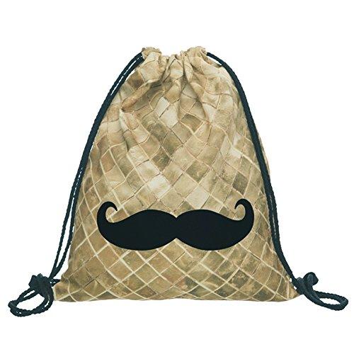 [Packable Print Drawstring Bags Lightweight Travel Backpack (Moustache-G)] (Moustache Halloween)