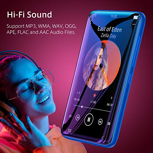 TIMMKOO MP3 Player with Speaker 40 Full Touchscreen HD Video Mp4 Player 8GB Portable HiFi Lossless