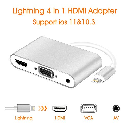 Lightning to HDMI VGA AV Adapter Converter, Cozysmart 3 in 1 Plug and Play lightning Digital AV Adapter to 1080P HDTV Projector Monitor Compatible with iPhone 7 / 8 / X/ 7Plus/ 8 Plus, iPad, iPod