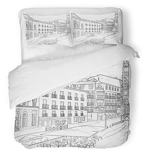 Emvency Bedsure Duvet Cover Set Closure Printed Decorative Europe Sketch of the Street Madrid with Cafe Spain Urban Architecture Black Breathable Bedding Set With 2 Pillow Shams Twin Size by Emvency