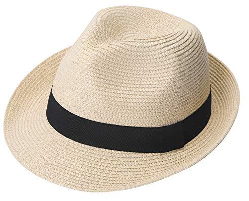 Lanzom Men Summer Straw Foldable Roll up Hat Fedora Beach Sun Hat UPF50+ (B-Beige)